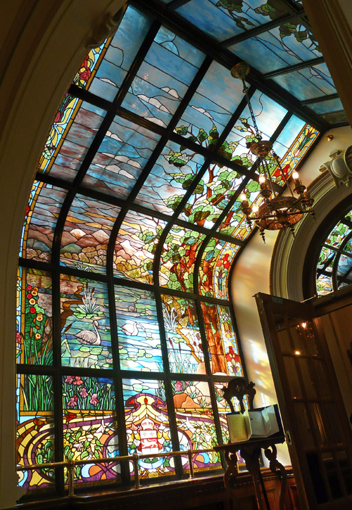 Building Glass Window : Stained glass hallway inside parliament building