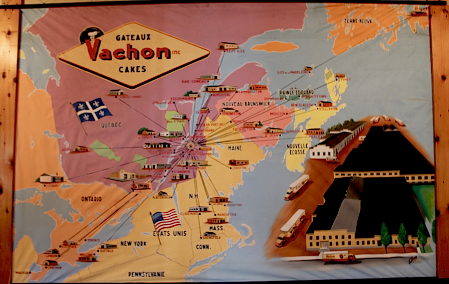 Carte présentant l\u0027expansion territoriale des petits gâteaux Vachon, tant  au Canada qu\u0027