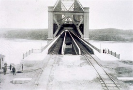 The early days of the Quebec Bridge with its two rail lines