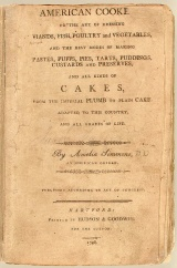 Cover of the first cookbook, American Cookery (1796), by Amelia Simmons.