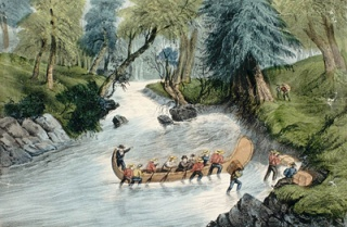 Canadian Voyageurs pushing a canoe into a set of rapids, LAC