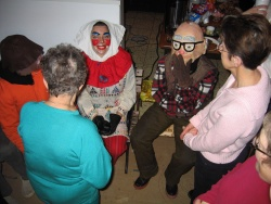 A group of Mid-Lent revellers wondering if anyone will recognize them, at Saint Joseph du Moine, Nova Scotia, 2007, Collection Georges Arsenault