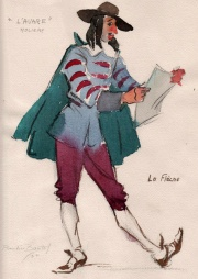 Molière's L'Avare; drawing by Pauline Bital,1950.