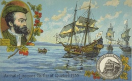 Jacques Cartier arrives in Quebec City, 1535, Postcard, BAnQ‎