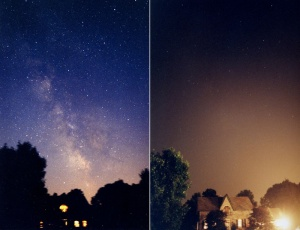 Suburb of Toronto, with (right) and without (left) light pollution