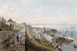 The lower-town of Quebec City and Château Saint-Louis, view from the parapet in the upper-town, 1833