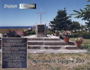 Composite photograph of the plaque and monument dedicated to father Sigogne