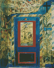 The door to Villeneuve's barber shop, as painted by the artist in 1957