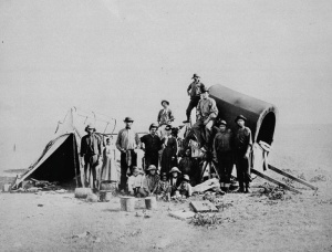 Métis camp on the prairie, Manitoba, around 1874