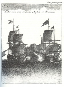 Sea battle between an English and a French Ship