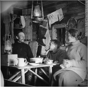 Inside of a cabin, Labrador, Newfoundland, Around 1915
