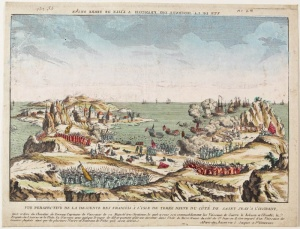 Panoramic view of French Landing on the Newfoundland Island from the west side of Saint Jean [today's St. John's] (around 1762)