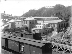 Train cars at the Saint-Joseph facility, May, 1923