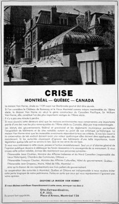 Encart publicitaire publié par la Society for the Preservation of Great Places dans le journal Le Devoir, 31 juillet 1973