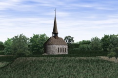 Virtual reconstruction of the Notre-Dame-de-Bon-Secours chapel, circa 1680