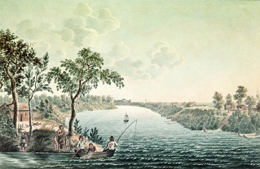 Summer scene close to Fort Douglas de la Compagnie on Red River. Designed from nature in July, 1822