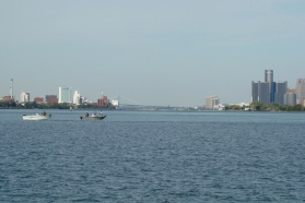 View of the Detroit River and the cities of Windsor (left shore) and Detroit (right shore)