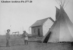 A house and tepee on Lac Sainte-Anne, Alberta, 1896