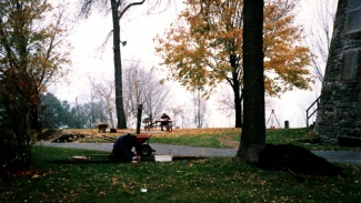 Archaeological excavations in Stinson Park carried out by the Groupe de Recherche en Histoire du Québec, October 25th, 1989