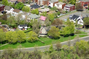 Arial view of Stinson Park and the Fleming Mill from the Highlands in the Montreal borough of LaSalle, May 12th, 2003