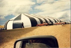 The 6th Fête Fransaskoise marquee in Batoche in 1985