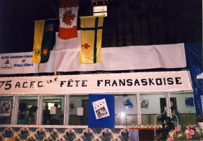 Reception centre at the 8th Fête Fransaskoise at Prud'homme in 1987.