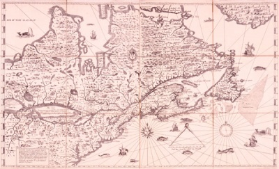 Map of Eastern Canada drawn up by Samuel de Champlain © National Library of Canada
