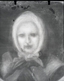 X-ray of the portrait of Marguerite Bourgeoys prior to restoration, 1963