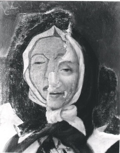 Portrait de Marguerite Bourgeoys au cours de la restauration, septembre 1963