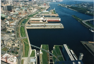 Aerial view of Montréal's Old Port