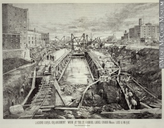 The Lachine Canal Enlargement: Work at the Saint Gabriel Locks Under Messrs. Loss & McRae, Montréal, QC