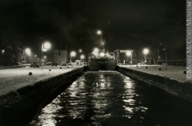 «Northcliffe Hall» boat, at lock no. 5, canal de Lachine Canal, Lachine, Quebec, 1968