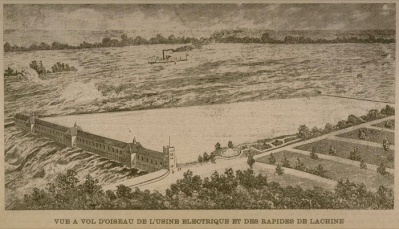 A bird's eye view of the hydroelectric plant and the Lachine Rapids