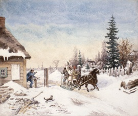 The majority of the canvasses painted by Cornelius Kreighoff (1815-1872) feature Canadian Horses. This one is a watercolour reproduction (replica artist unknown) of Habitants Running the Toll Gate, 1867. © BAC