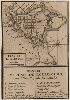 Map of the layout of the Louisbourg Fortress