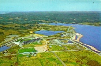 Aerial photograph of the Louisbourg Fortress reconstruction project