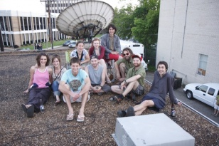 The Vidéo Eldorado team on the roof of community TV station Acadiana Open Channel in Lafayette, Louisiana