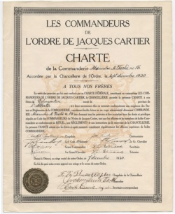 Charter of the Commanderie Alexandre-A.-Taché (Edmonton, Alberta) of the Ordre de Jacques Cartier, September 1930.