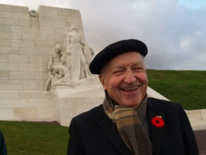 Georges Devloo standing before the Canadian National Vimy Memorial