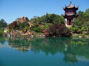 The Chinese Garden with the pagoda and pond