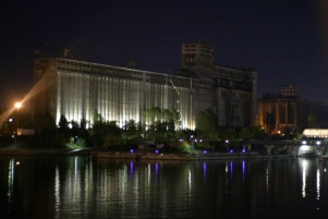 Night-time view of elevator 5
