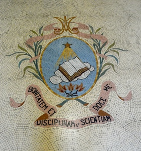 Main entrance mosaic, with the CUSB coat of arms