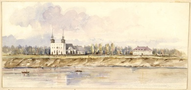 Red River Colony at Saint-Boniface, Manitoba, 1858