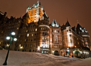 Château Frontenac aglow in winter