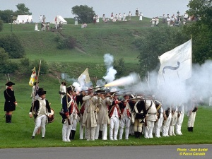 Reenactment of a battle on the Plains of Abraham