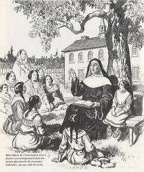 Marie de l'Incarnation teaching young Indian students