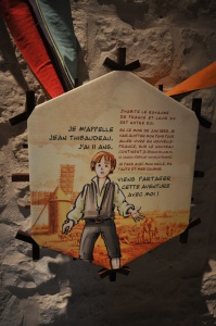 Close-up view of an information panel in a historical walk geared towards young audiences, part of an exhibition at the Tour de la Chaîne.