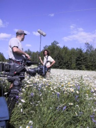Filming of the documentary drama on Richard's life, Sur les pas de René Richard, 2003