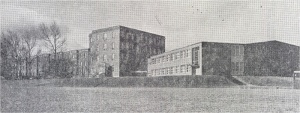Left, the original wing, built in 1913; centre, the four-storey wing, built in 1927; right, the gym, built in 1951