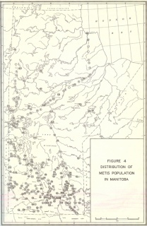 Map showing Métis population distribution in Manitoba, 1959